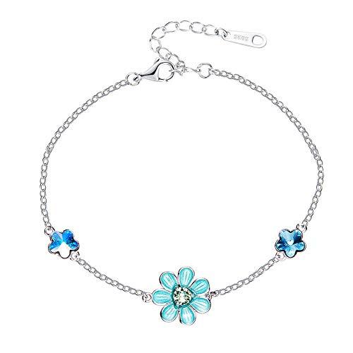 Queen AILSAGioielli verjaardagskaart van zilver eenvoudige prostitut kleine bloem armband