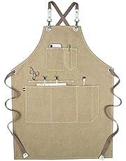 Delantal de trabajo unisex con bolsillos multifuncionales de lona para herramientas, delantal impermeable para cocinar, hornear, delantal de cocinar, barbacoa, delantal con correa ajustable