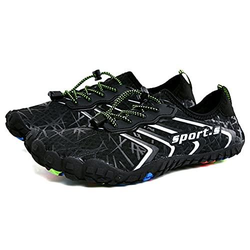 Sebasty Zapatos de Ciclismo de Verano Sin Bloqueo,Zapatos Casuales de Verano para Hombre,Zapatos Transpirables de Malla,Zapatillas Ligeras y Cómodas para Exteriores,Black-43