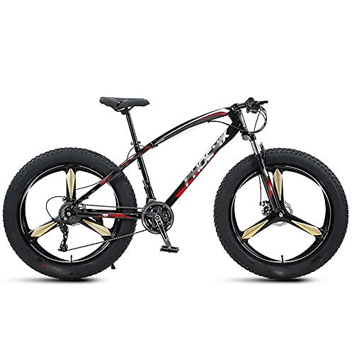 BMDHA Bicicleta NeumáTicos Ensanchados De 4 Pulgadas,Bicicleta De Montaha 26 Pulgadas 30 Velocidades,Bicicleta Freno MecáNico De Doble Disco Eje Inferior Sellado