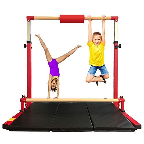 Marfula Adjustable Gymnastics Bar 6 Ft Kip Bar with Mat for Kids and Gymnast Exercise Home and Gym Club Use