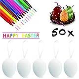 XJOO 50 Huevos de Pascua Huevos Blancos Plásticos Decorativos Colgantes para Pascua , Ideales para la búsqueda de Huevos de Pascua Manualidades y Pintura, decoración del hogar, Regalos y más.