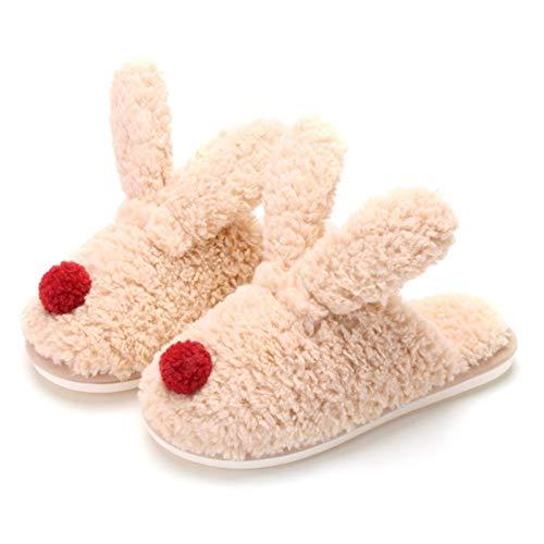 CNZXCO Zapatillas de conejito, 2 pares de zapatillas de conejo de orejas...
