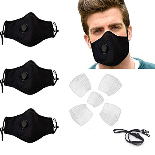 3 pcs 40 Filters 1 Lanyard|Black Adjustable Cloth Face Mask Reusable with Filter|Washable Breathable Cotton|Mouth Cover with Breathing Vent&Nose Clip|with Activated Carbon Filter Replaceable