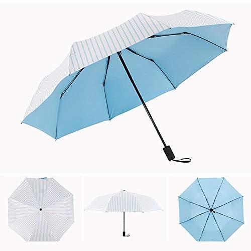 Parasol Parapluie Parapluie Pliant Femme Cadeau Anti-Pluie Parasol Ensoleillé Et Pluvieux Hommes Bleu