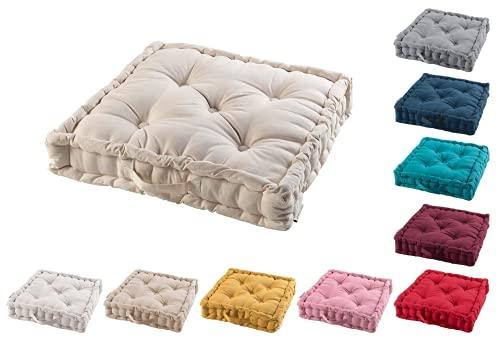 TIENDAEURASIA® Cojines de Suelo - 100% Algodón Lisa - Ideal para sillas, Bancos, palets, Suelos - Uso Interior y Exterior (Natural, 60 x 60 x 10 cm)