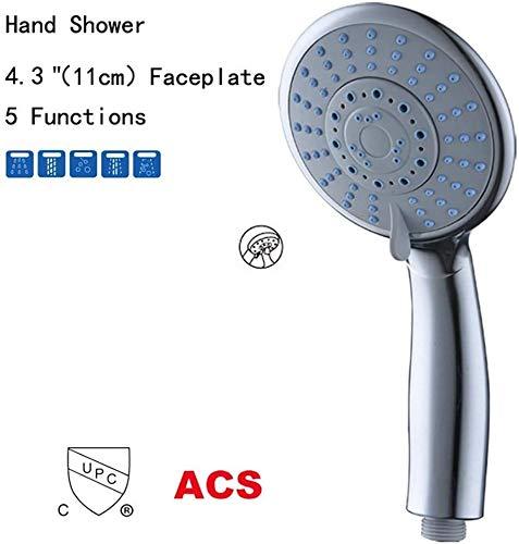 ZHLFDC 5 Funktionen Runde Duschkopf, Dusche Abs Plating Wasserspar Druckerhoehung Wasserfall Wasserstop, ergonomische Form, erweiterte Badewanne Zubehör, Massage