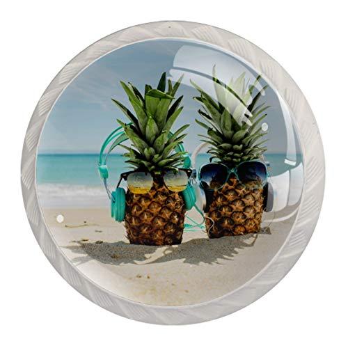 Z&Q Océano de playa de piña Juego de 4 tiradores modern de Base de Plastico & Cristal, con distintos diseños, ideales para puertas, armarios, cajones y cómodas 35mm