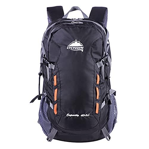 CYCYUZXW Ultraleichter Wasserdichter Rucksack Wanderrucksack 40L, geeignet für Wandern, Camping, Reisen, Sport (Schwarz)
