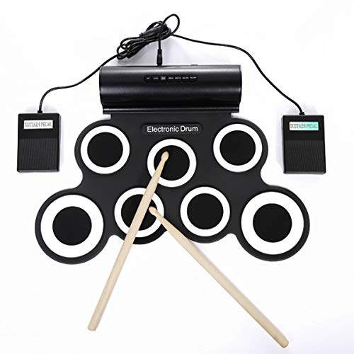 ZHBD Electronic Drum Set for Kids, Roll Up Practice Pad Midi, Electric Drum Kit with Headphone Speaker, Foot Pedals and Drumsticks, Best Gift for Children