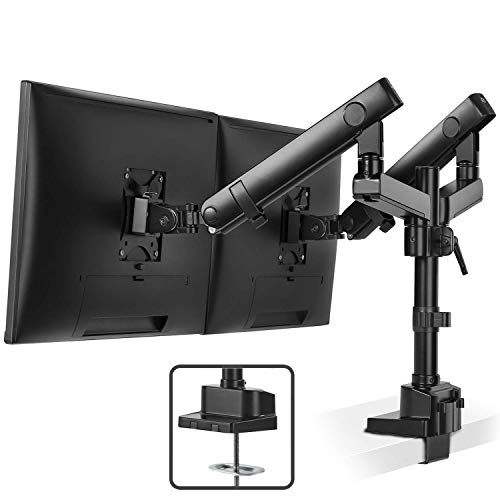 Dual Monitor Stand Mount - Fully Adjustable Aluminum Mechanical Spring Double Arm Desk Mount, Tilts,...