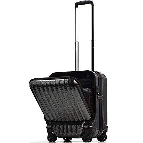 【PROEVO】スーツケース 機内持ち込み フロントオープン ストッパー付き サスペンション 8輪 機内持込 【AVANT】 ダブルキャスター キャリーケース キャリーバッグ 前ポケット 軽量 PCホルダー (S-37L-ブラック)