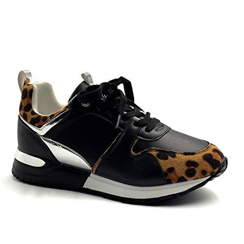 Angkorly - Damen Schuhe Sneakers - Turnschuhe Sneakers - Turnschuhe keil - Tennis - Flache - Streetwear - Pythonschlangenhauteffekt - Metall Detail - geladen Flache 4 cm - Leopard BK7 T 39