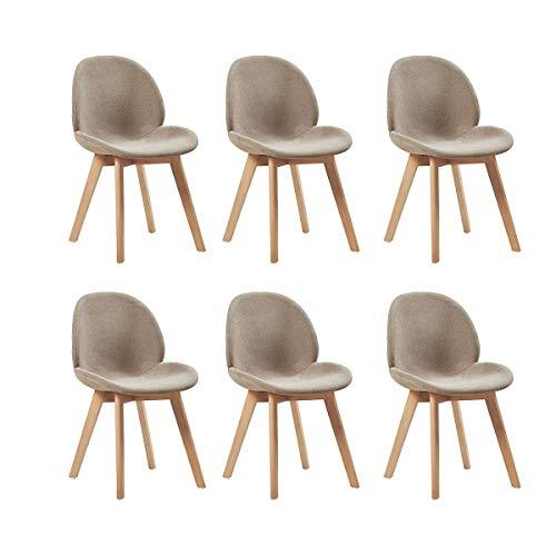 H.J WeDoo Lot de 6 chaises de Salle à Manger scandinaves en Tissu, Chaise de Style Feuille Bois de...