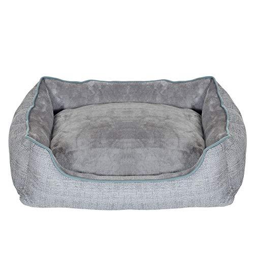 PET VIOLET Hundebett und kuscheliges Hundekissen, Wendbar, 63x46x18 cm, Grau