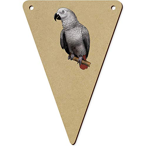 5 x 140mm 'African Grey Parrot' Wooden Bunting Flags (BN00066335)