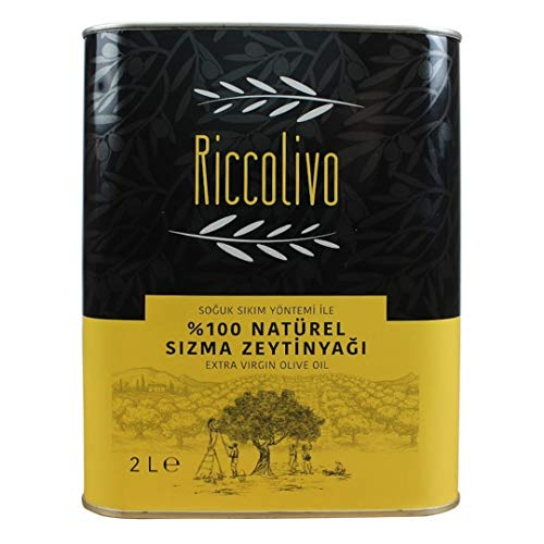 riccolivo Extra Virgin Olive Oil, First Cold Pressed, 100% Natural, Less Than 0.8% Acidity, 68 Oz (2L)