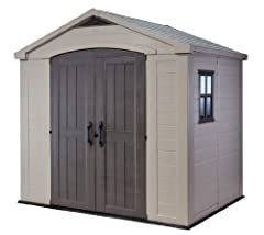 DIMENSIONS: Exterior: 101 in. W x 71.5 in. D x 95.5 in. H / Interior: 93 in. W x 64 in. D x 94 in. H LARGE STORAGE: 285 cubic ft. capacity RESIN CONSTRUCTION: Made from polypropylene resin plastic & steel reinforcement to ensure its durability DURABL...