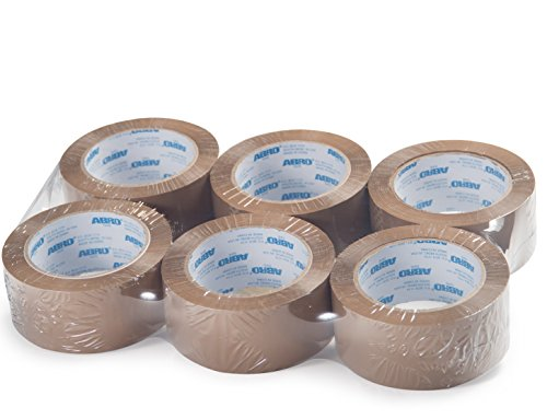 Abro Carton Sealing BOPP Tape Tan (6-pack) - Heavy Duty Adhesive, Industrial Strength, Packing Tape, Warehouse Tape, Moving Tape - 2 inches x 55 Yds 1.8 Mil Thickness - Exceeds Quality Standards