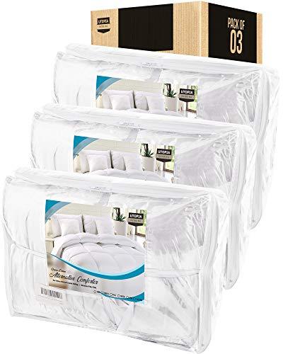 Utopia Bedding Comforter Duvet Insert - Box Stitched Down Alternative Comforters - King (Bulk Pack of 3, White)