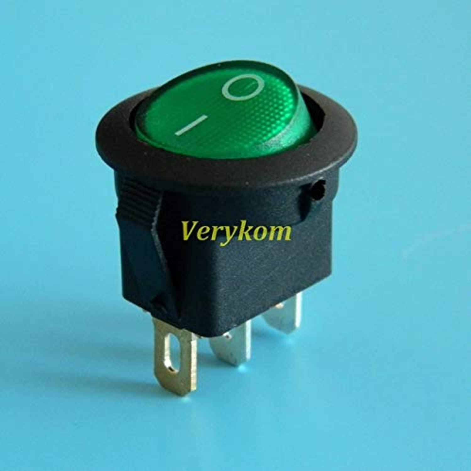 100pcs lot Red blueee Yellow Green LED Light Round Rocker Switch ON Off SPST Boat Switch 12V 16A for Car Boat Home  (color  Green)