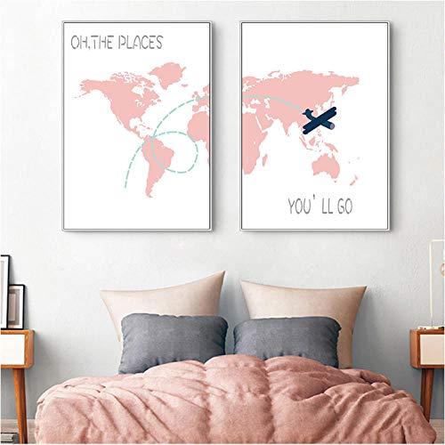 Liangzheng Roze kaart muur canvas schilderij poster baby kamer decoratie kinderkamer wandschilderij Nordic cartoon canvas foto wandschilderijen baby meisje 50x70cmx2 niet ingelijst