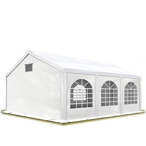 TOOLPORT Partyzelt Festzelt 3x6 m in weiß Professional 300 g/m² PE Plane Wasserdicht UV Schutz mit BODENRAHMEN Gartenzelt