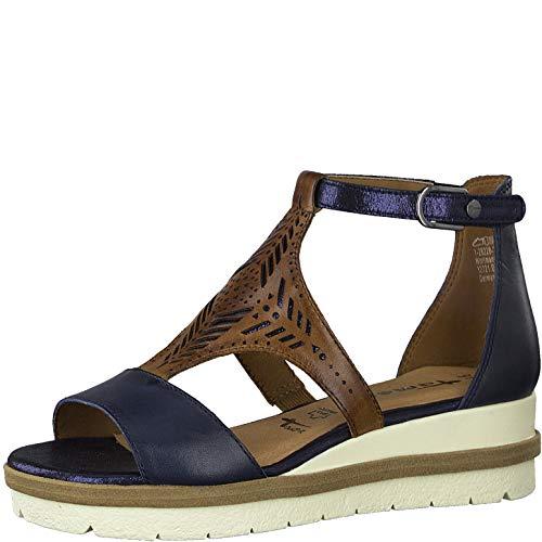Tamaris Femme Sandales 28228-24, Dame Sandales compensées, Sandales compensées,Chaussures d'été,Confortable,Plat,Navy/Nut Comb,38 EU / 5 UK
