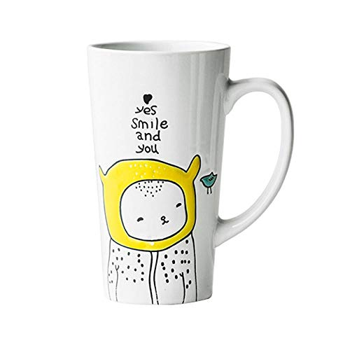 Koffie Bekers Keramische Mok Ontbijt Melk Cup Hoge Cup Kop Thuis Grote Capaciteit Kantoor, Gele Hoed, 500 Ml