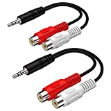 3.5MM Male to 2 RCA Female Jack Stereo Audio Cable Y Adapter for Phone Pod Pad MP3 Tablets HiFi Stereo System Computer Sound Speaker (8 inch)