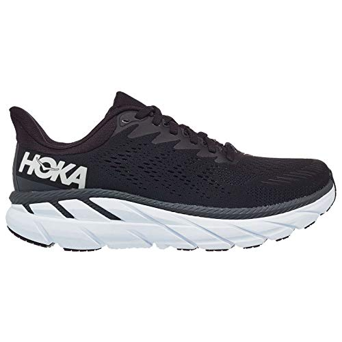 Hoka One One Mujer Clifton 7 Wide Textile Synthetic Black White Entrenadores 38 EU