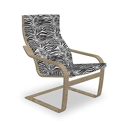 ABAKUHAUS Zebra-Druck Poäng Sessel Polster, Wilde Zebra-Linien, Sitzkissen mit Stuhlkissen mit Hakenschlaufe und Reißverschluss, Schwarz-Weiss
