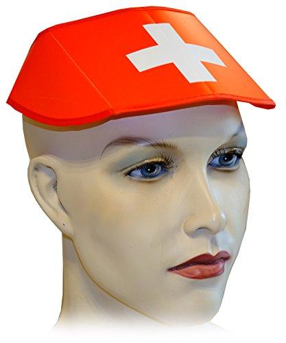 Kaltner Präsente Geschenkidee - 10 Stück Schirmkappe Hut Kappe faltbar in der Landesfarbe Schweiz ideal für Outdoor Sonnenschutz