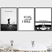 ウォークマンタイプライターライフクォートウォールアートキャンバス絵画北欧のポスターとプリントブラックホワイトウォール写真リビングルーム| 40x50cmx3-フレームなし