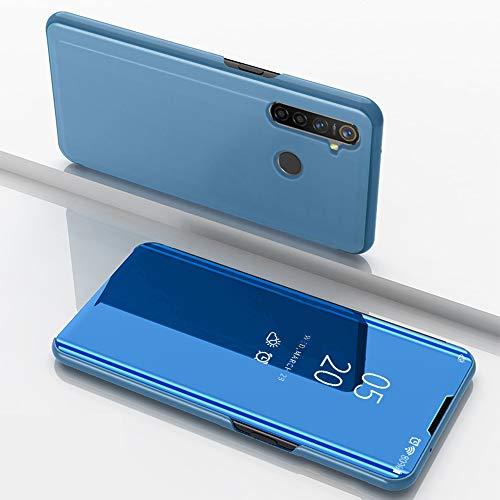 SHIEID Hülle Oppo Realme 5 Pro Schutzhülle Smart Spiegelüberzug Sleep Flip Leder Case Streamer Spiegel Schutzhülle Handyhülle für Oppo Realme 5 Pro(Blau)