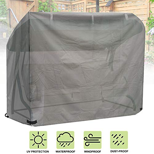 iiSPORT Swing Hammock Cover, Waterproof 3 Seater Swing Cover from durable 600D Oxford Fabric, Grey, 220 x 170 x 150cm