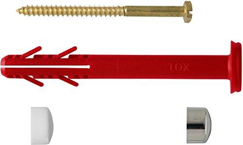 TOX WC - Befestigung Toilet XL Cap 8 x 80 mm, je 2 Stück Dübel, Schrauben messing und Abdeckkappen, weiß/chrom, 045701341