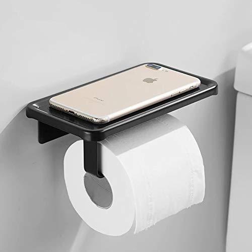 JKMQA Portarrollos para Papel Higiénico Portarrollos Baño Adhesivo Portarrollo para Papel Higiénico,Autoadhesivo,Aluminio,Acabado Mate Negro