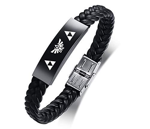 VNOX Acero Inoxidable La Leyenda de Zelda Símbolo Joyas Amuleto Pulsera Trenzada de Cuero para Hombres,21cm