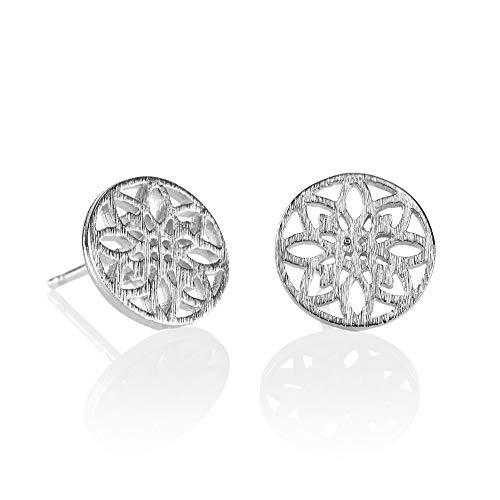 NAMANA Mandala Scheiben-Ohrstecker, gebürstetes Finish, Heilige Geometrie Ohrringe, Gold oder Silber Scheiben-Ohrstecker für Damen