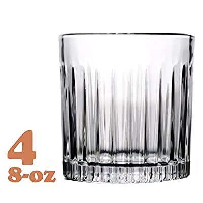 Whiskey Glass Set of 4, 8-ounce, Old Fashioned Rocks Glasses Tumblers, Glassware for Cocktail Scotch, Bourbon, Gin, Voldka, Brandy