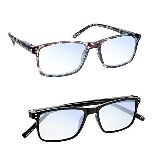 Lesebrille Blaulicht abweisende Gläser UV 410 Schutz MADEYES Brille 2-er Pack für damen und herren (1Schwarz 1 Blau, 2.00x)