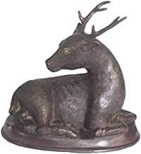 World of American Home Decor Warehouse Sitting Deer on Bronze Base Bronze Statue, 10 by 6 by 10-Inch