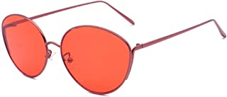 Fashion Oval Large Frame Glasses Unisex UV400 Protection New Metal Sunglasses Retro (Color : Red)