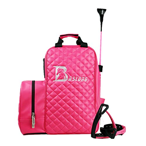 UNISTRENGH Professional Equestrian Bags Durable PU Leather Horse Riding Boots and Helmet Bag (Pink)
