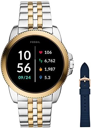 Fossil Connected Smartwatch Gen 5e para Hombre con tecnología Wear OS de Google, frecuencia cardíaca, NFC y notificaciones smartwatch, Acero Inoxidable Bicolor + Correa de Reloj S181370