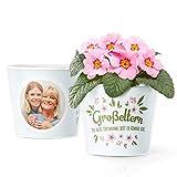 Facepot Oma und Opa Geschenke - Blumentopf (ø16cm) mit Bilderrahmen für Zwei Fotos (10x15cm) - Großeltern die Beste Erfindung seit es Kinder gibt