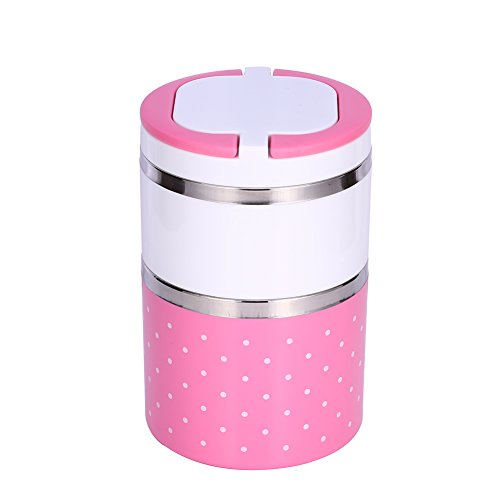Yosoo picnic lunch, box, pot bread box, portable isolated thermal stainless steel, interior insulation, leak proof spout with handle, food container, food carrier for food., pink, 930 ml