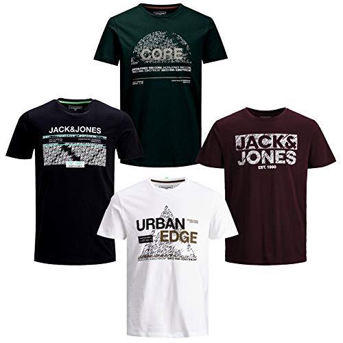 JACK & JONES Lot de 4 t-shirts à col rond pour homme - Multicolore - Medium