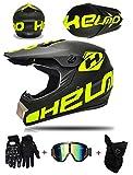 LZSH Casco professionale da motocross, DOT Adulto Offroad Casco Motocross Casco Dirt Bike ATV Casco Moto viene fornito con occhiali, maschera e guanti (A,S: 52-56 cm)